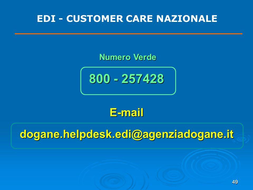 49 EDI - CUSTOMER CARE NAZIONALE 800 - 257428 E-maildogane.helpdesk.edi@agenziadogane.it Numero Verde