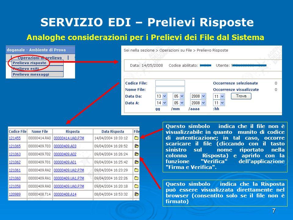 7 SERVIZIO EDI – Prelievi Risposte Analoghe considerazioni per i Prelievi dei File dal Sistema Questo simbolo indica che il file non è visualizzabile