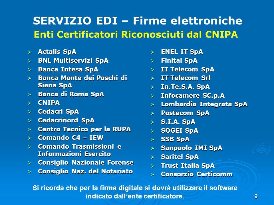 9 SERVIZIO EDI – Firme elettroniche Enti Certificatori Riconosciuti dal CNIPA Actalis SpA Actalis SpA BNL Multiservizi SpA BNL Multiservizi SpA Banca