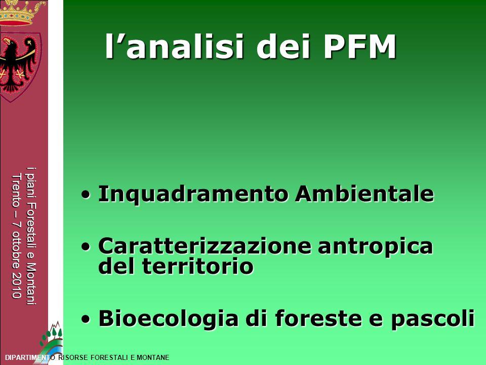 i piani Forestali e Montani Trento – 7 ottobre 2010 DIPARTIMENTO RISORSE FORESTALI E MONTANE lanalisi dei PFM Inquadramento AmbientaleInquadramento Am