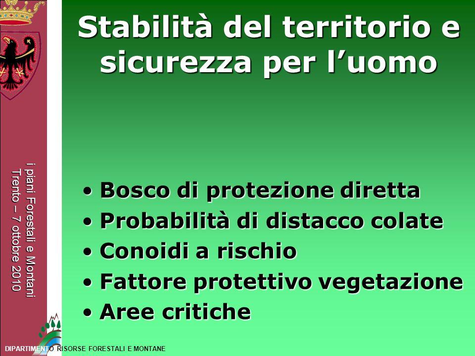 i piani Forestali e Montani Trento – 7 ottobre 2010 DIPARTIMENTO RISORSE FORESTALI E MONTANE Stabilità del territorio e sicurezza per luomo Bosco di p