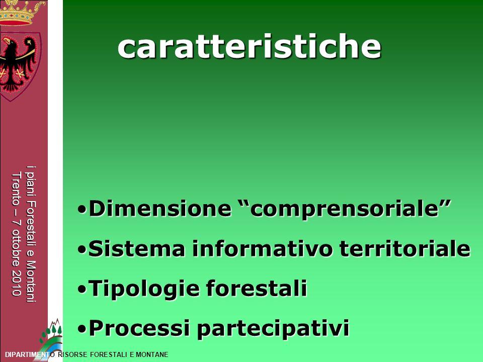 i piani Forestali e Montani Trento – 7 ottobre 2010 DIPARTIMENTO RISORSE FORESTALI E MONTANE caratteristiche Dimensione comprensorialeDimensione compr
