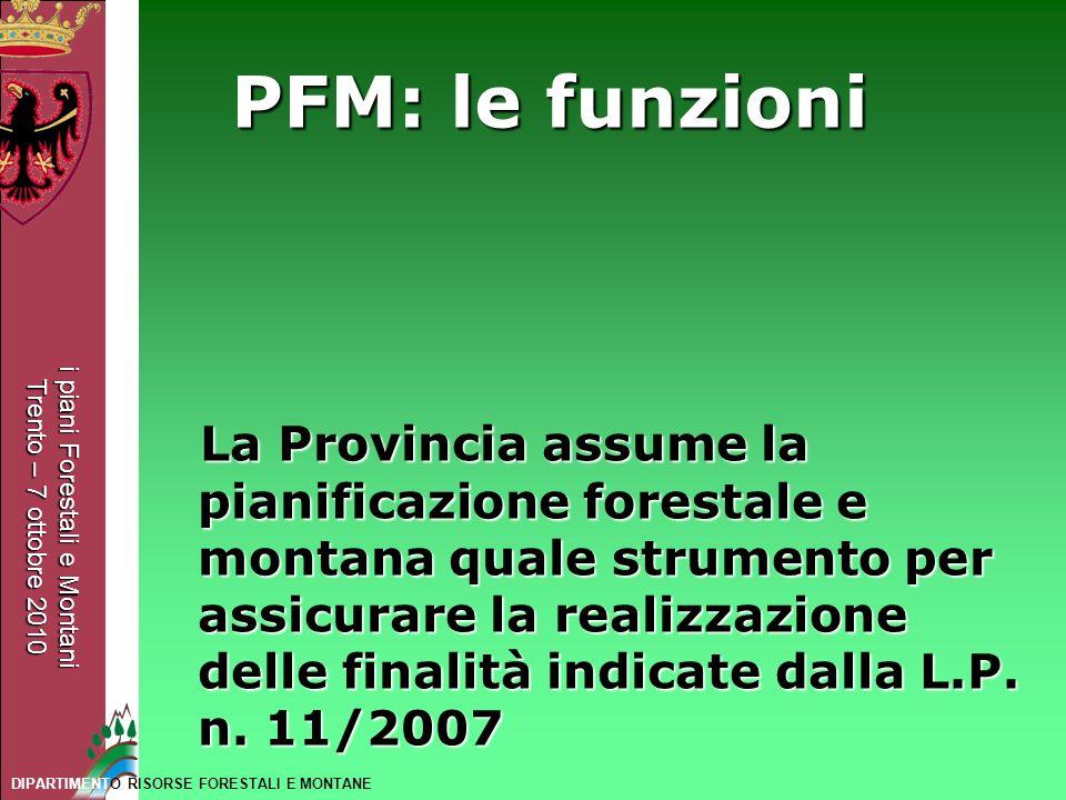 i piani Forestali e Montani Trento – 7 ottobre 2010 DIPARTIMENTO RISORSE FORESTALI E MONTANE PFM: le funzioni La Provincia assume la pianificazione fo