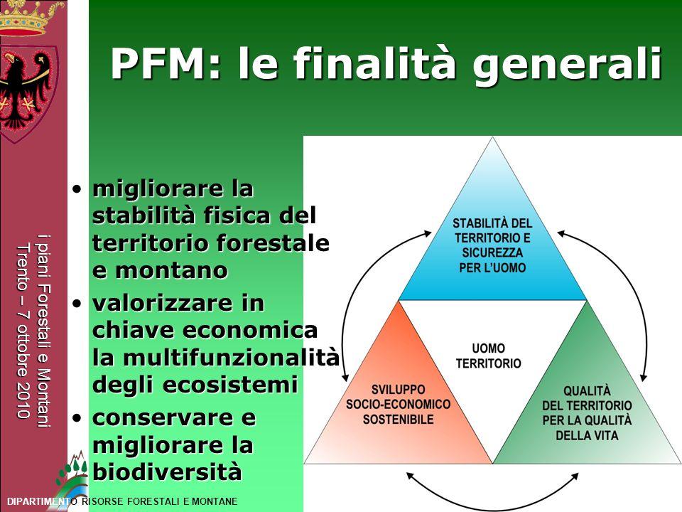 i piani Forestali e Montani Trento – 7 ottobre 2010 DIPARTIMENTO RISORSE FORESTALI E MONTANE PFM: le finalità generali migliorare la stabilità fisica