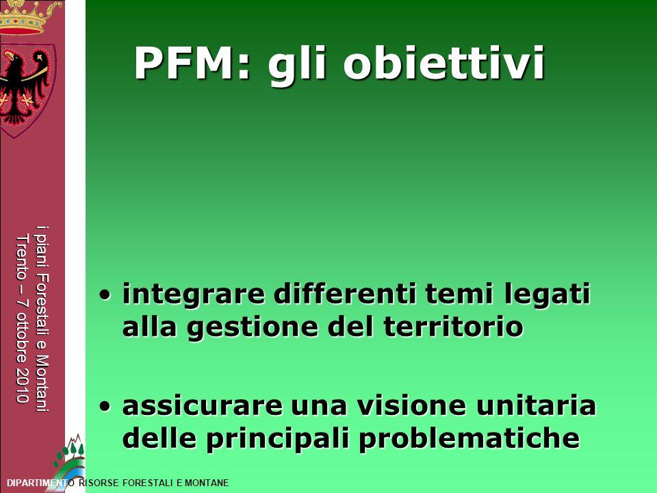 i piani Forestali e Montani Trento – 7 ottobre 2010 DIPARTIMENTO RISORSE FORESTALI E MONTANE PFM: gli obiettivi integrare differenti temi legati alla