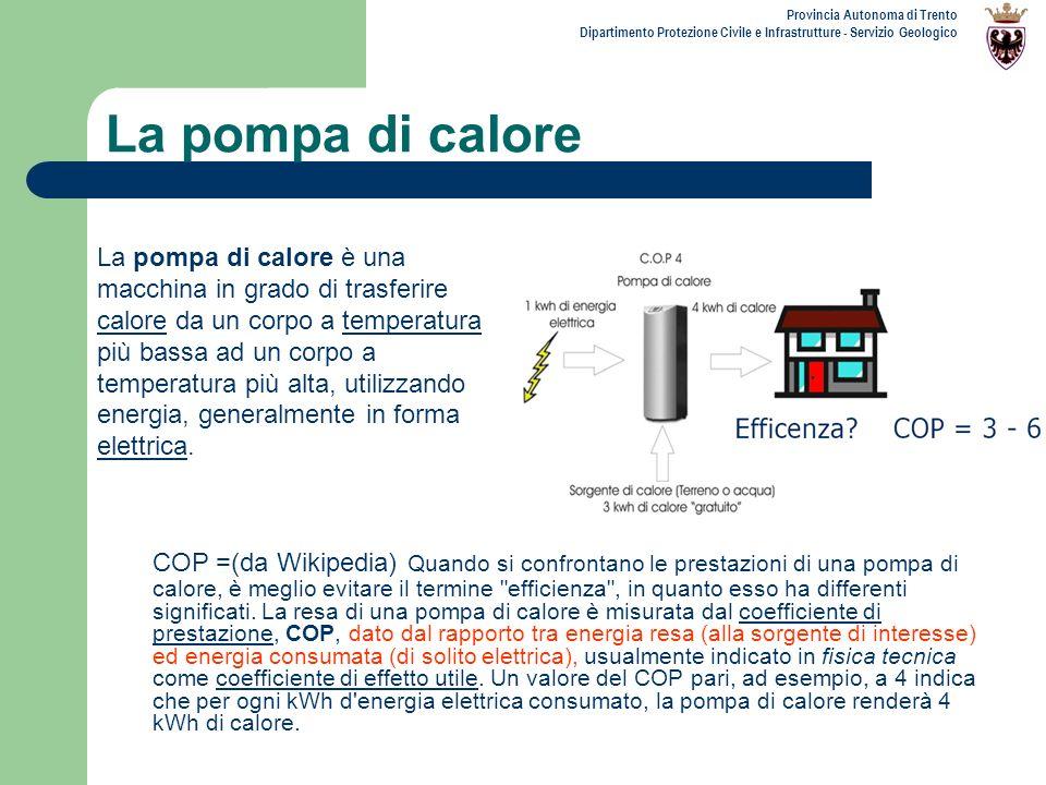 Provincia Autonoma di Trento Dipartimento Protezione Civile e Infrastrutture - Servizio Geologico La pompa di calore COP =(da Wikipedia) Quando si con