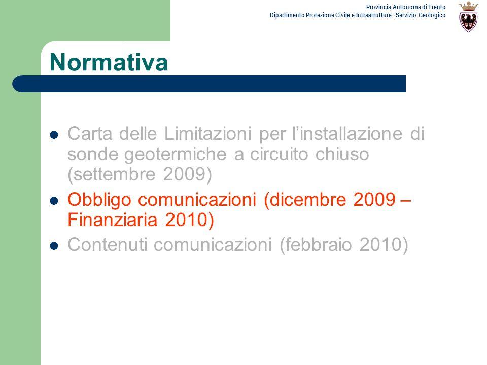 Provincia Autonoma di Trento Dipartimento Protezione Civile e Infrastrutture - Servizio Geologico Normativa Carta delle Limitazioni per linstallazione