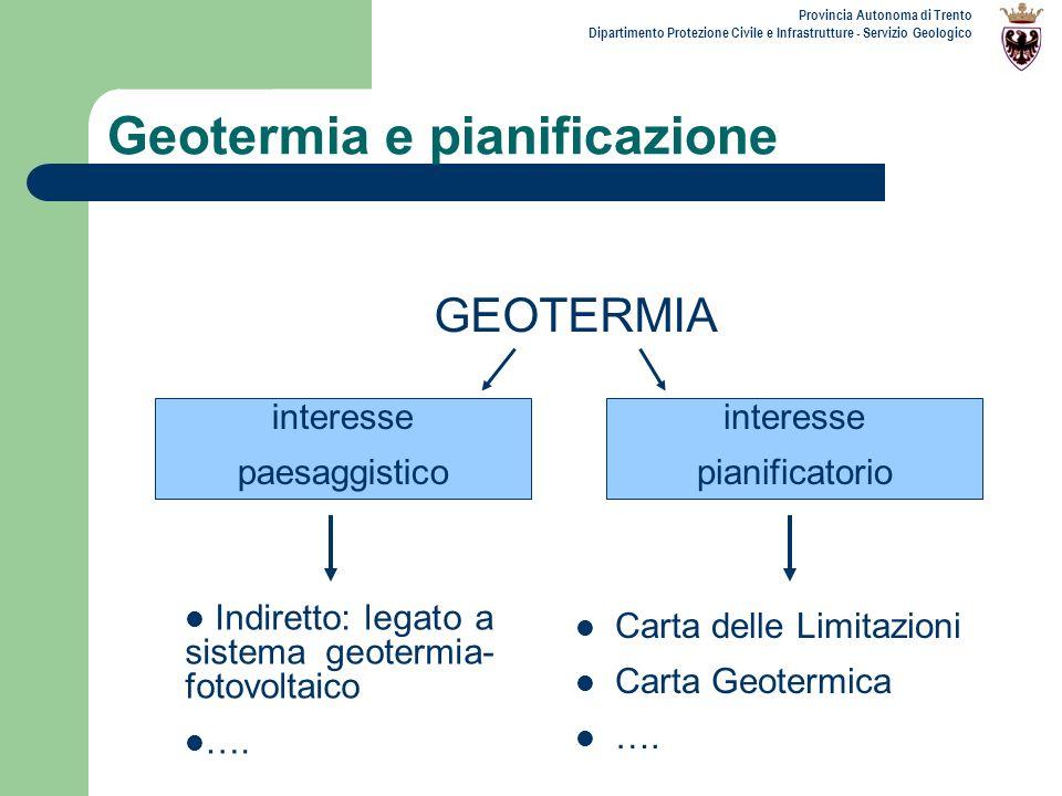 Provincia Autonoma di Trento Dipartimento Protezione Civile e Infrastrutture - Servizio Geologico Geotermia e pianificazione GEOTERMIA interesse piani