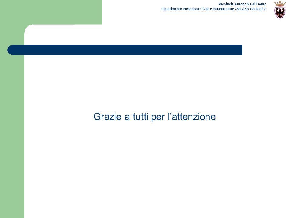 Provincia Autonoma di Trento Dipartimento Protezione Civile e Infrastrutture - Servizio Geologico Grazie a tutti per lattenzione