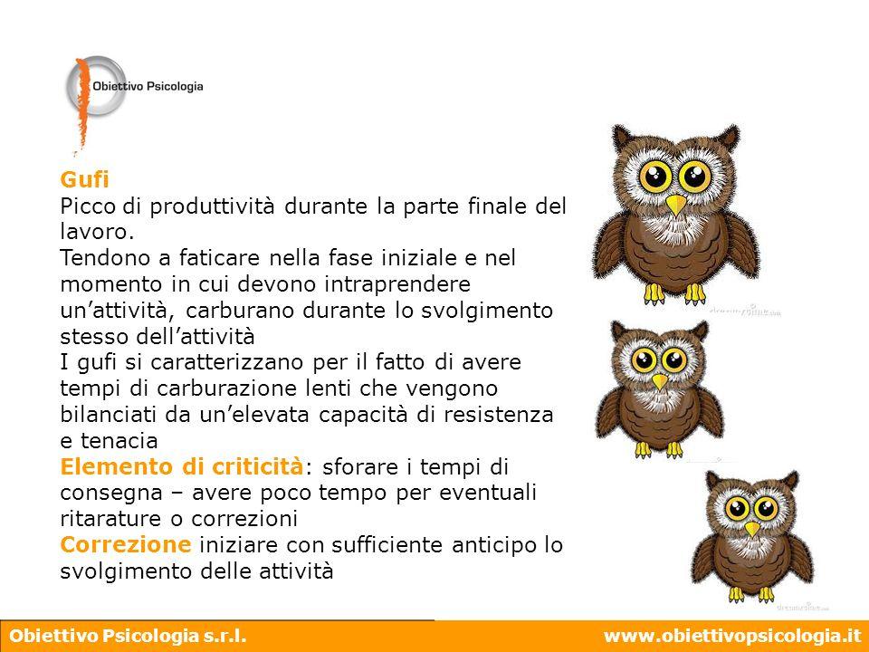 Obiettivo Psicologia s.r.l.www.obiettivopsicologia.it Gufi Picco di produttività durante la parte finale del lavoro. Tendono a faticare nella fase ini