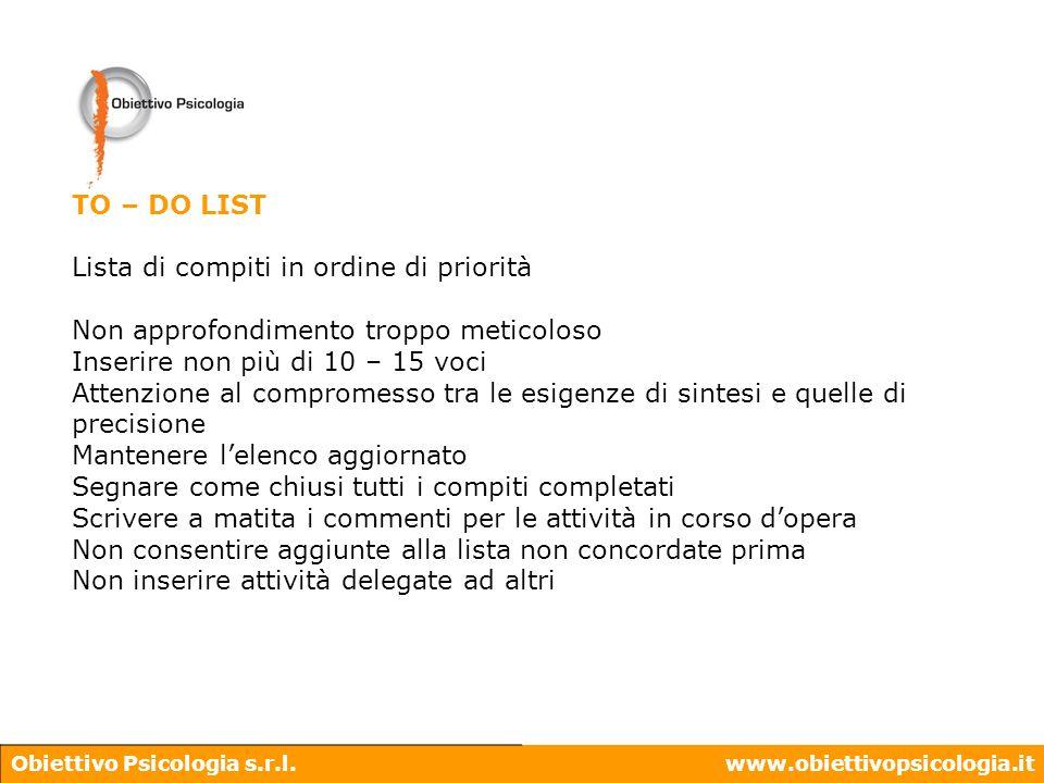 Obiettivo Psicologia s.r.l.www.obiettivopsicologia.it TO – DO LIST Lista di compiti in ordine di priorità Non approfondimento troppo meticoloso Inseri