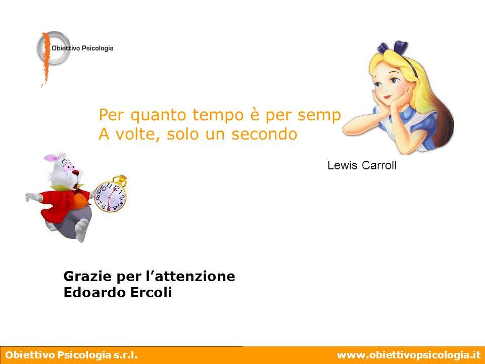 Obiettivo Psicologia s.r.l.www.obiettivopsicologia.it Per quanto tempo è per sempre? A volte, solo un secondo Lewis Carroll Grazie per lattenzione Edo