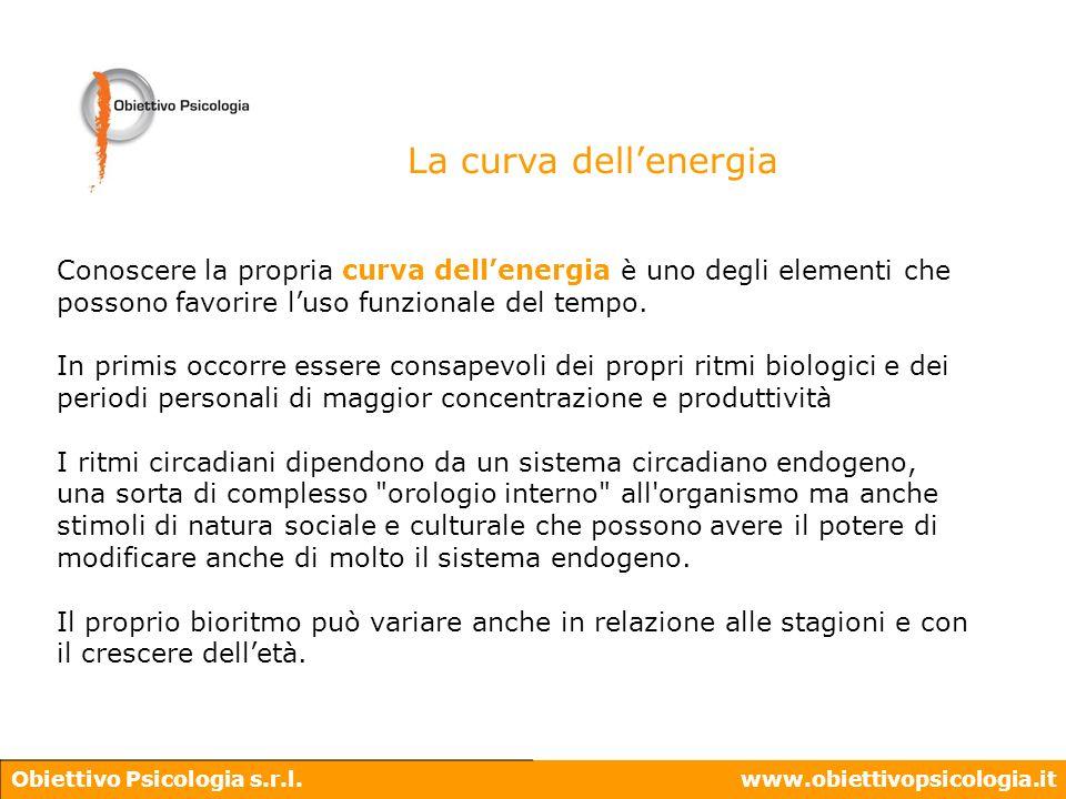 Obiettivo Psicologia s.r.l.www.obiettivopsicologia.it Conoscere la propria curva dellenergia è uno degli elementi che possono favorire luso funzionale