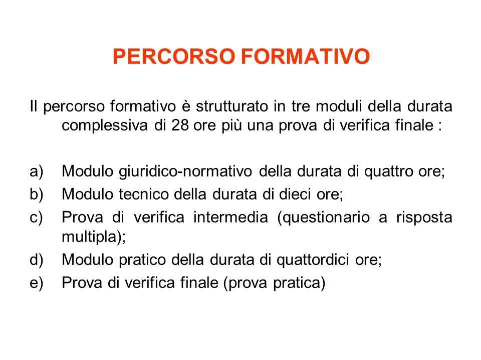 PERCORSO FORMATIVO Il percorso formativo è strutturato in tre moduli della durata complessiva di 28 ore più una prova di verifica finale : a)Modulo gi