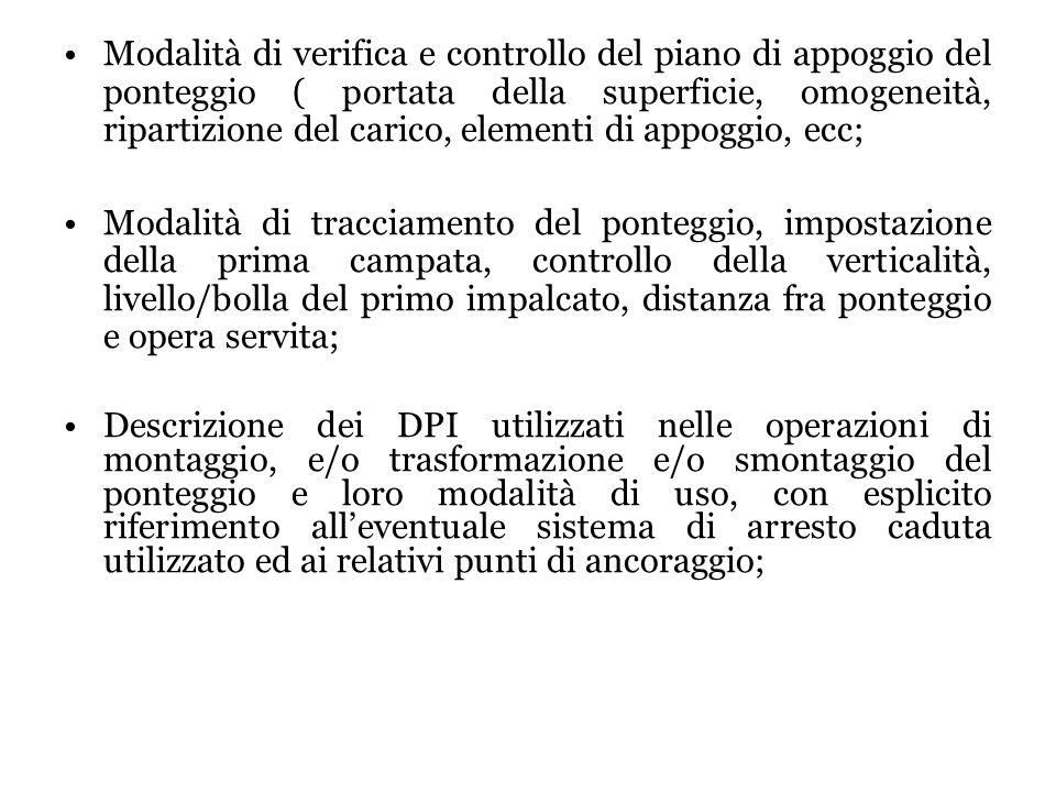 Modalità di verifica e controllo del piano di appoggio del ponteggio ( portata della superficie, omogeneità, ripartizione del carico, elementi di appo