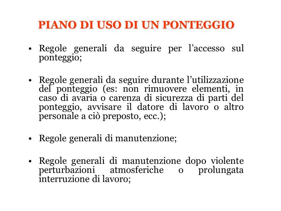 PIANO DI USO DI UN PONTEGGIO Regole generali da seguire per laccesso sul ponteggio; Regole generali da seguire durante lutilizzazione del ponteggio (e