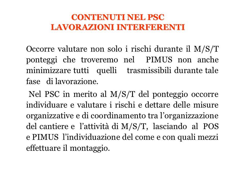 CONTENUTI NEL PSC LAVORAZIONI INTERFERENTI Occorre valutare non solo i rischi durante il M/S/T ponteggi che troveremo nel PIMUS non anche minimizzare