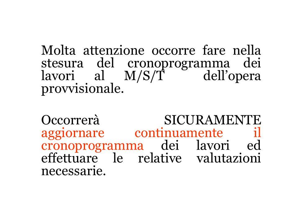 Molta attenzione occorre fare nella stesura del cronoprogramma dei lavori al M/S/T dellopera provvisionale. Occorrerà SICURAMENTE aggiornare continuam