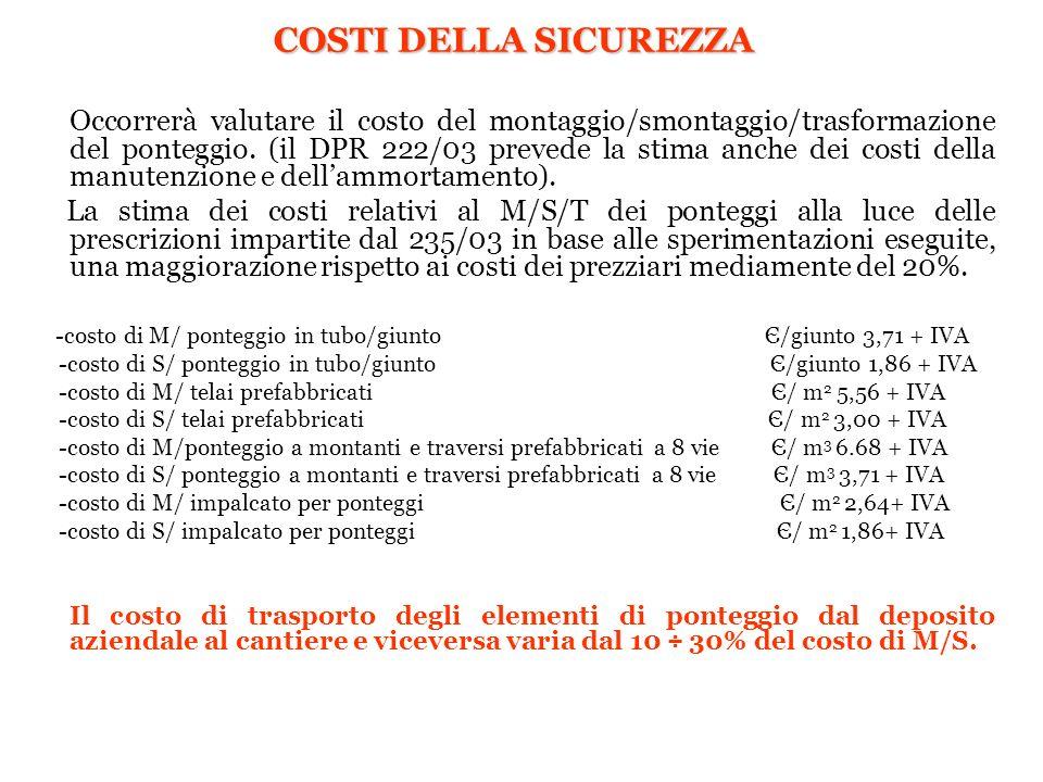 COSTI DELLA SICUREZZA Occorrerà valutare il costo del montaggio/smontaggio/trasformazione del ponteggio. (il DPR 222/03 prevede la stima anche dei cos