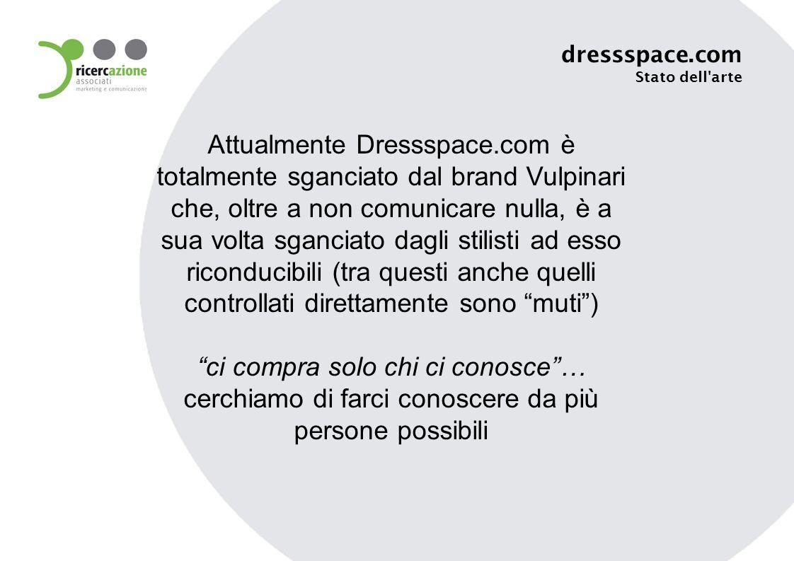 Attualmente Dressspace.com è totalmente sganciato dal brand Vulpinari che, oltre a non comunicare nulla, è a sua volta sganciato dagli stilisti ad esso riconducibili (tra questi anche quelli controllati direttamente sono muti) ci compra solo chi ci conosce… cerchiamo di farci conoscere da più persone possibili dressspace.com Stato dell arte