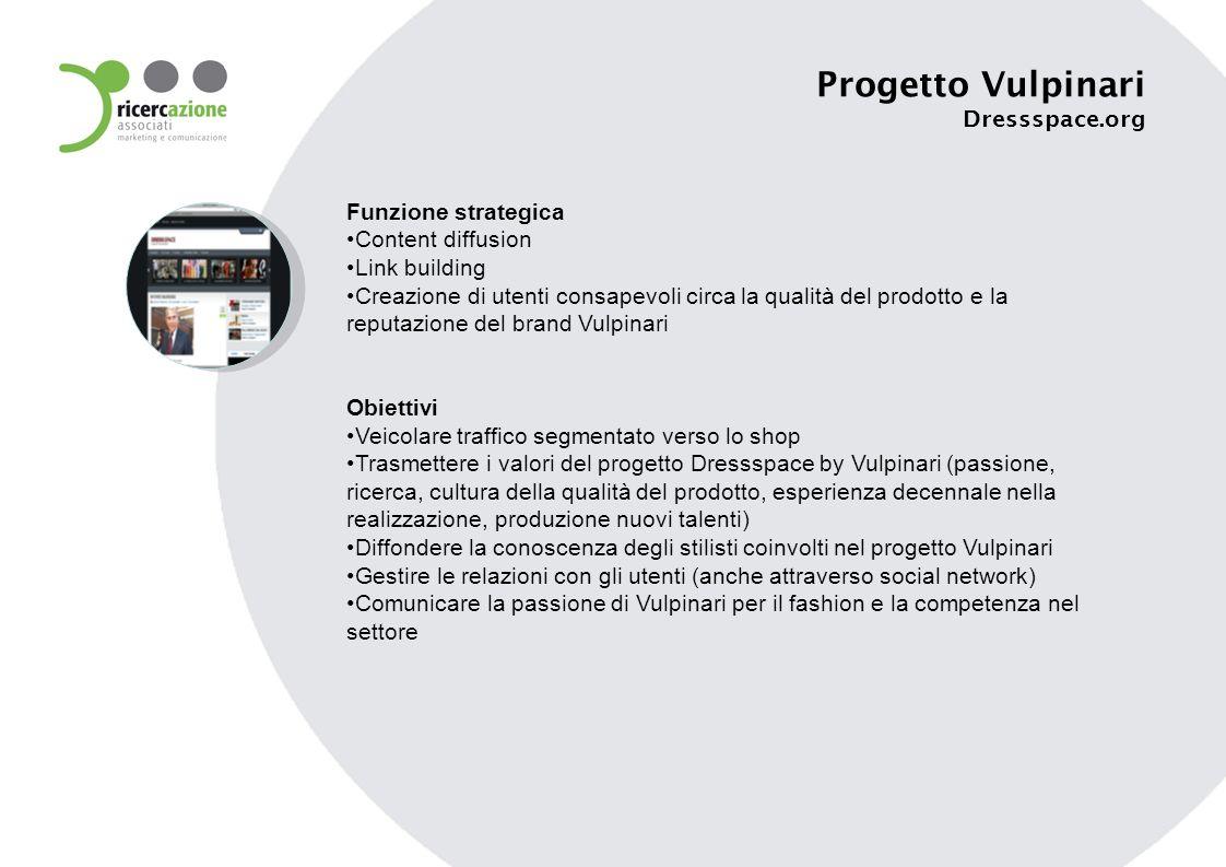 Funzione strategica Content diffusion Link building Creazione di utenti consapevoli circa la qualità del prodotto e la reputazione del brand Vulpinari