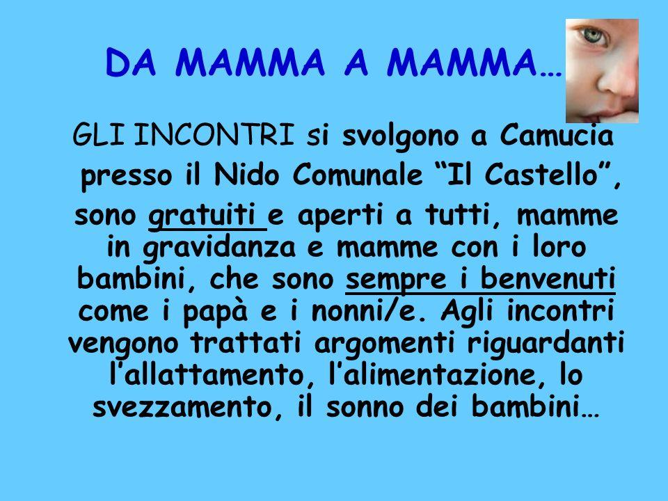 DA MAMMA A MAMMA… GLI INCONTRI si svolgono a Camucia presso il Nido Comunale Il Castello, sono gratuiti e aperti a tutti, mamme in gravidanza e mamme
