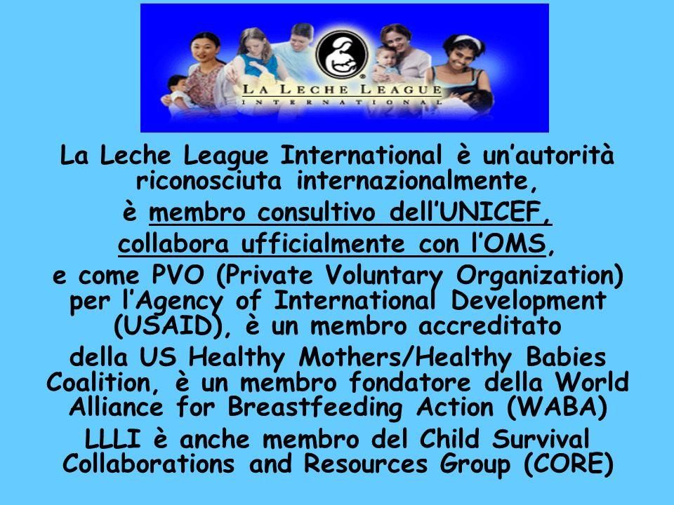 La Leche League International è unautorità riconosciuta internazionalmente, è membro consultivo dellUNICEF, collabora ufficialmente con lOMS, e come P