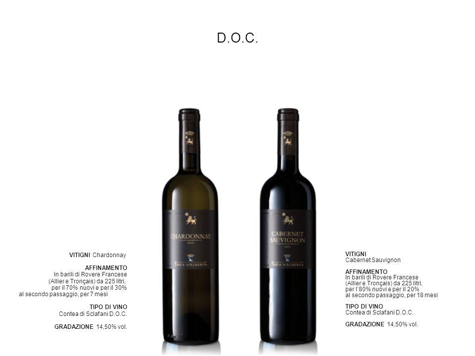 D.O.C. VITIGNI Cabernet Sauvignon AFFINAMENTO In barili di Rovere Francese (Allier e Tronçais) da 225 litri, per l80% nuovi e per il 20% al secondo pa