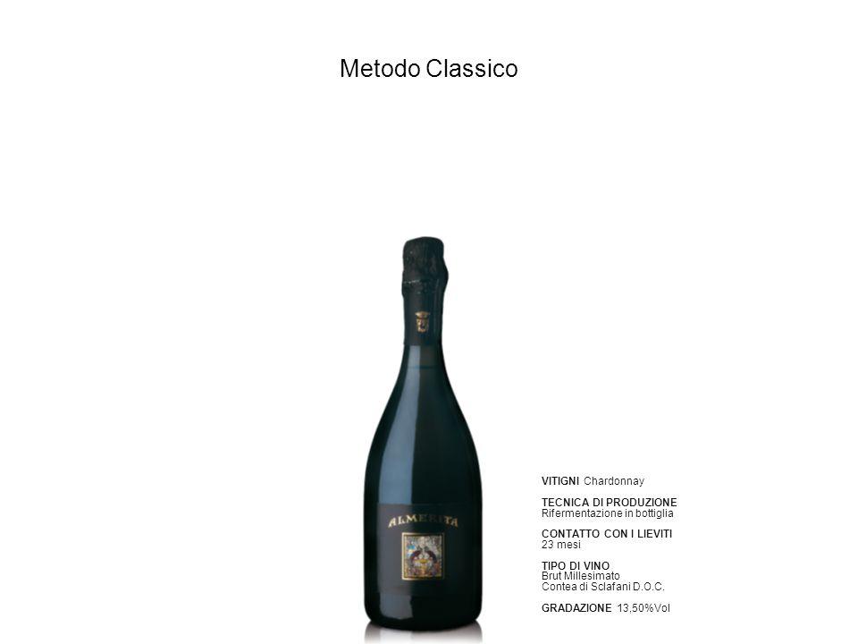 Metodo Classico VITIGNI Chardonnay TECNICA DI PRODUZIONE Rifermentazione in bottiglia CONTATTO CON I LIEVITI 23 mesi TIPO DI VINO Brut Millesimato Con