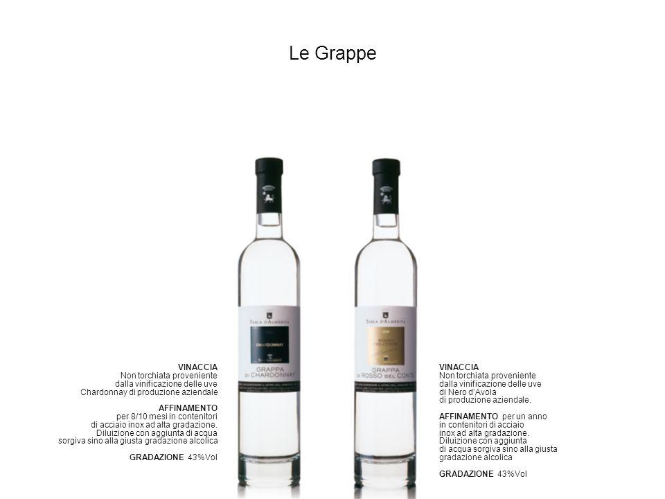 Le Grappe VINACCIA Non torchiata proveniente dalla vinificazione delle uve di Nero dAvola di produzione aziendale. AFFINAMENTO per un anno in contenit