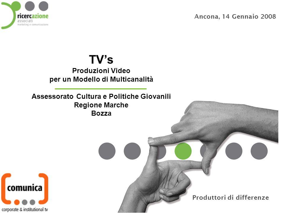 Ancona, 14 Gennaio 2008 TVs Produzioni Video per un Modello di Multicanalità Assessorato Cultura e Politiche Giovanili Regione Marche Bozza Produttori di differenze