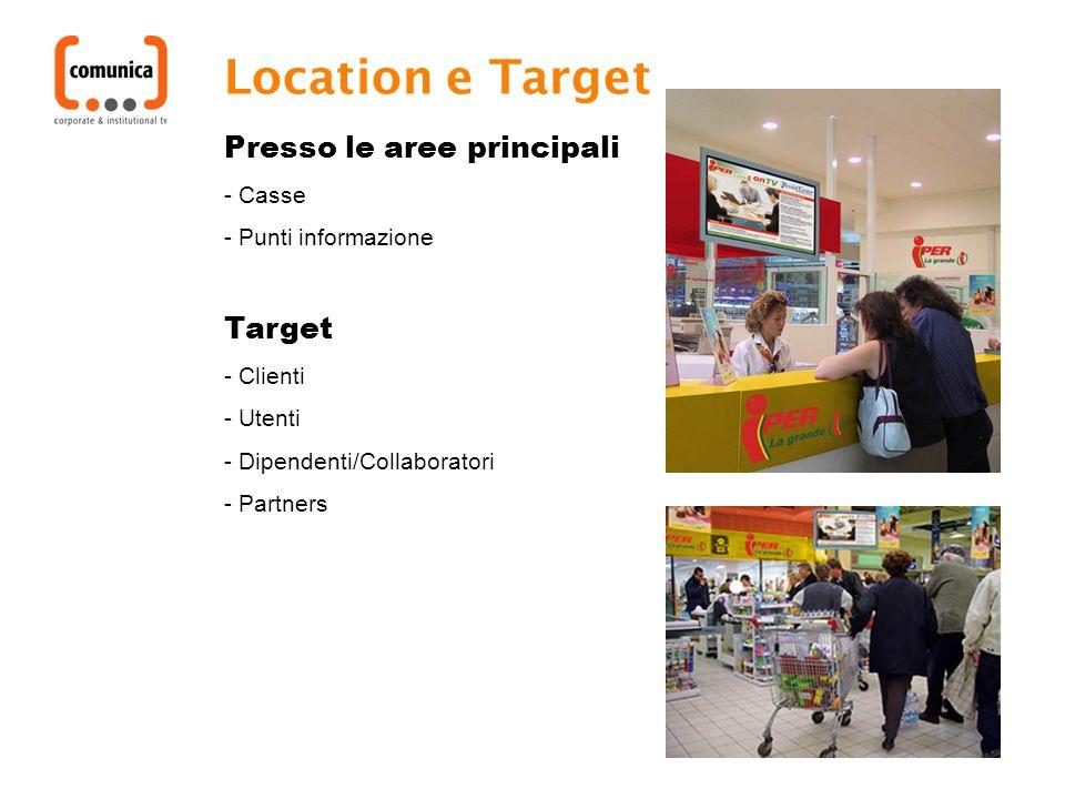 Location e Target Presso le aree principali - Casse - Punti informazione Target - Clienti - Utenti - Dipendenti/Collaboratori - Partners