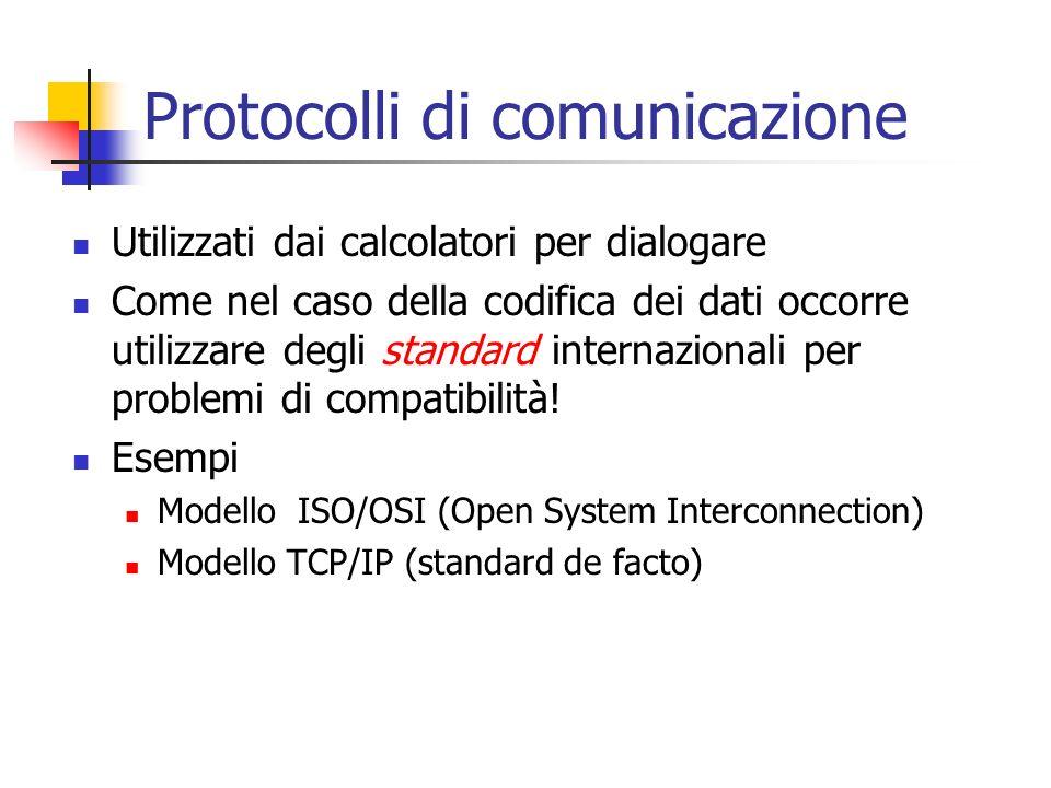 Protocolli di comunicazione Utilizzati dai calcolatori per dialogare Come nel caso della codifica dei dati occorre utilizzare degli standard internazionali per problemi di compatibilità.