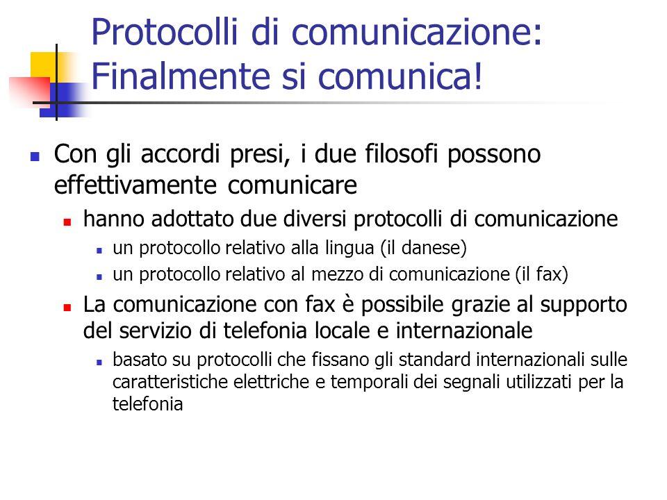 Protocolli di comunicazione: Finalmente si comunica! Con gli accordi presi, i due filosofi possono effettivamente comunicare hanno adottato due divers