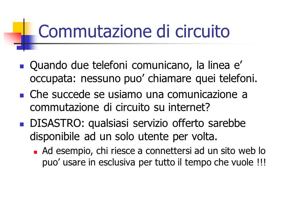 Commutazione di circuito Quando due telefoni comunicano, la linea e occupata: nessuno puo chiamare quei telefoni. Che succede se usiamo una comunicazi