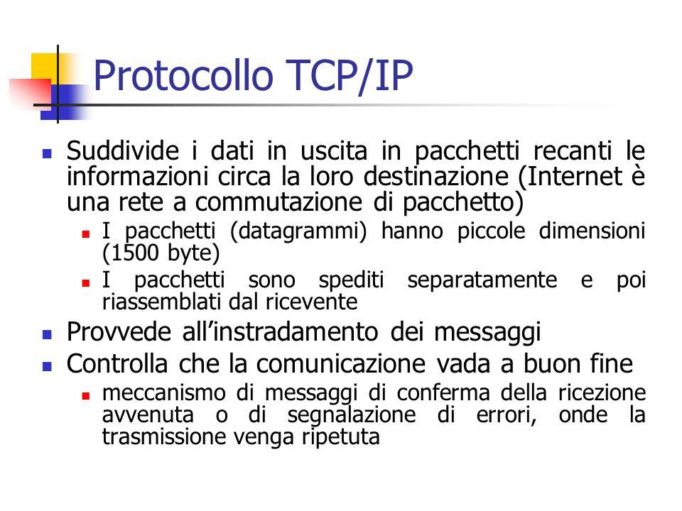 Protocollo TCP/IP Suddivide i dati in uscita in pacchetti recanti le informazioni circa la loro destinazione (Internet è una rete a commutazione di pacchetto) I pacchetti (datagrammi) hanno piccole dimensioni (1500 byte) I pacchetti sono spediti separatamente e poi riassemblati dal ricevente Provvede allinstradamento dei messaggi Controlla che la comunicazione vada a buon fine meccanismo di messaggi di conferma della ricezione avvenuta o di segnalazione di errori, onde la trasmissione venga ripetuta