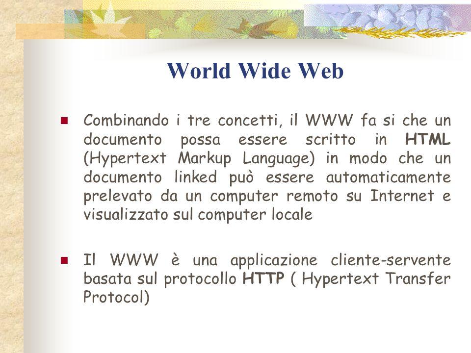 World Wide Web Combinando i tre concetti, il WWW fa si che un documento possa essere scritto in HTML (Hypertext Markup Language) in modo che un documento linked può essere automaticamente prelevato da un computer remoto su Internet e visualizzato sul computer locale Il WWW è una applicazione cliente-servente basata sul protocollo HTTP ( Hypertext Transfer Protocol)