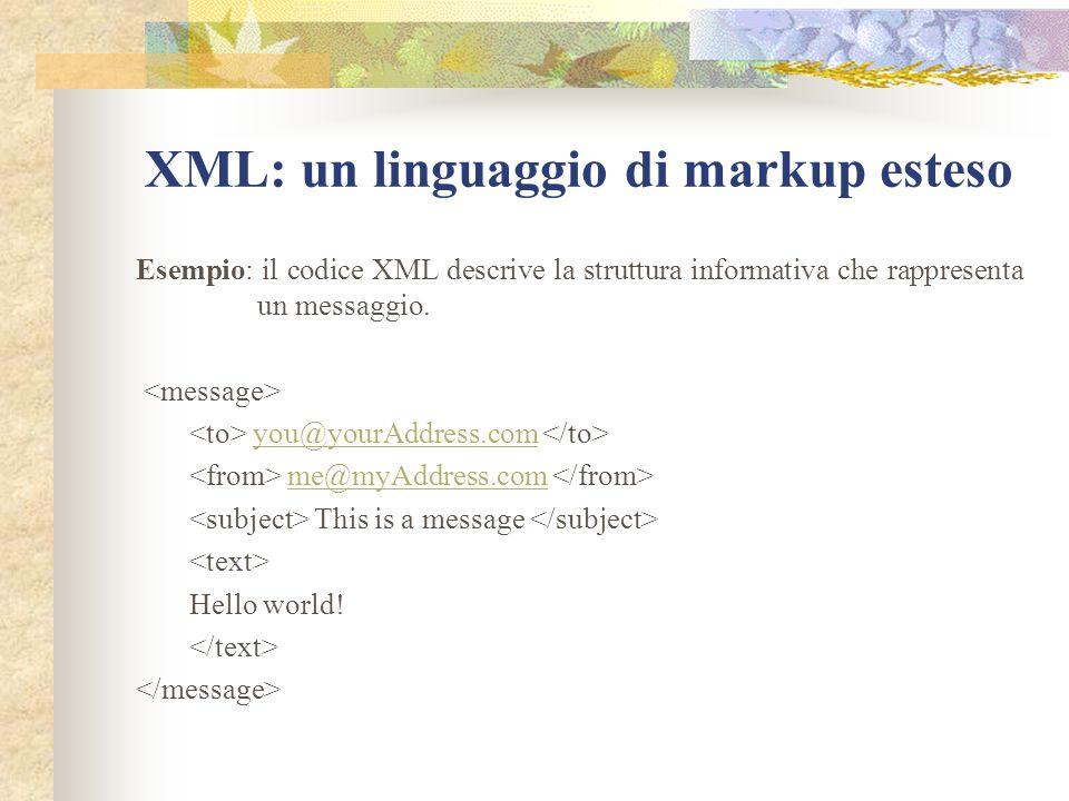 XML: un linguaggio di markup esteso Esempio: il codice XML descrive la struttura informativa che rappresenta un messaggio.