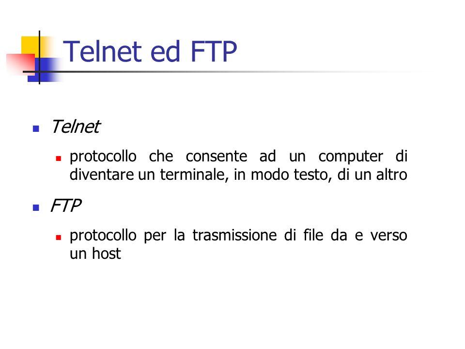 Telnet ed FTP Telnet protocollo che consente ad un computer di diventare un terminale, in modo testo, di un altro FTP protocollo per la trasmissione di file da e verso un host