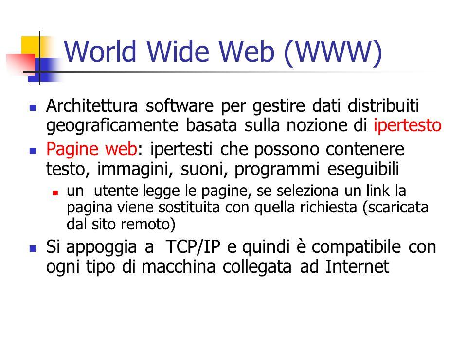 World Wide Web (WWW) Architettura software per gestire dati distribuiti geograficamente basata sulla nozione di ipertesto Pagine web: ipertesti che possono contenere testo, immagini, suoni, programmi eseguibili un utente legge le pagine, se seleziona un link la pagina viene sostituita con quella richiesta (scaricata dal sito remoto) Si appoggia a TCP/IP e quindi è compatibile con ogni tipo di macchina collegata ad Internet