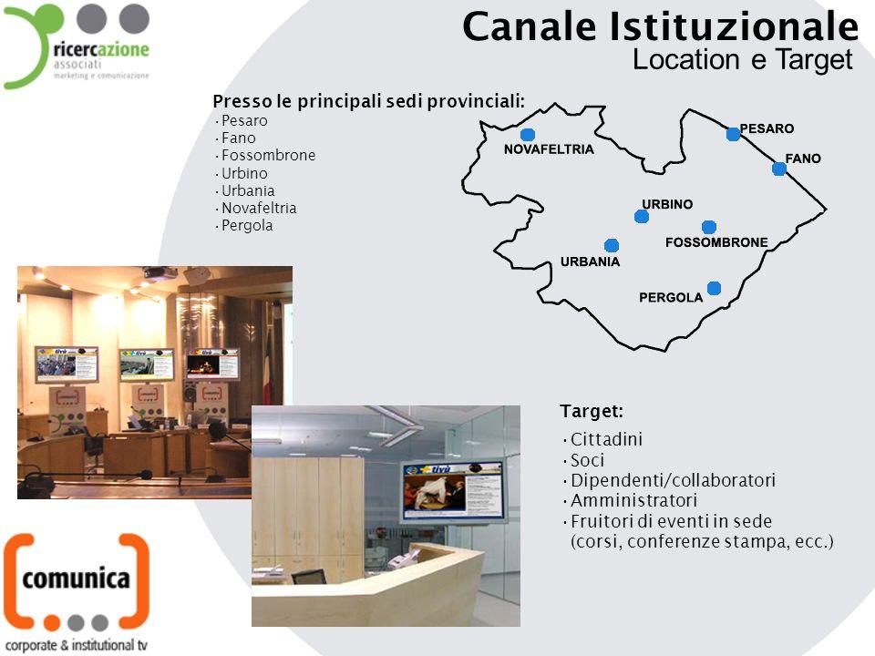 Presso le principali sedi provinciali: Pesaro Fano Fossombrone Urbino Urbania Novafeltria Pergola Target: Cittadini Soci Dipendenti/collaboratori Ammi