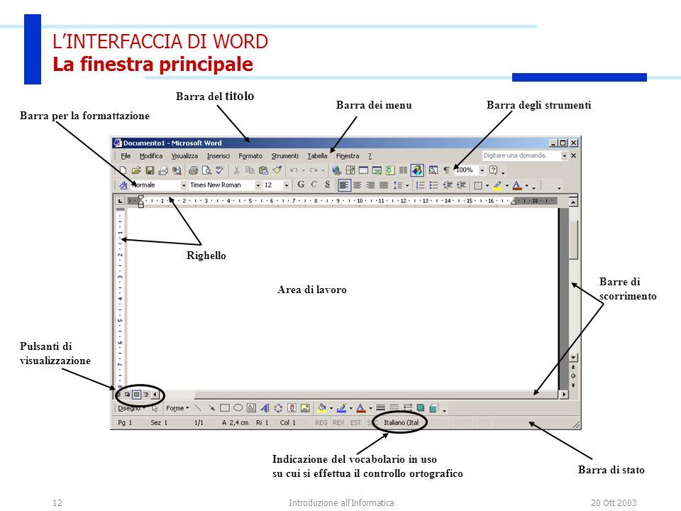 20 Ott 2003Introduzione all'Informatica12 LINTERFACCIA DI WORD La finestra principale Barra del titolo Barra dei menuBarra degli strumenti Area di lav
