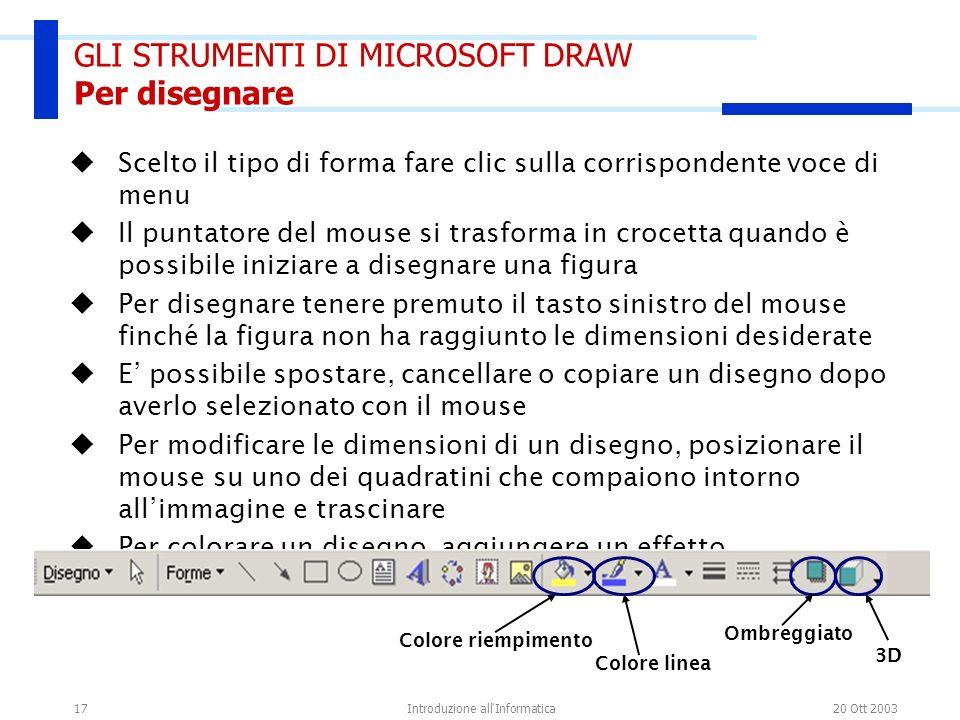 20 Ott 2003Introduzione all'Informatica17 Scelto il tipo di forma fare clic sulla corrispondente voce di menu Il puntatore del mouse si trasforma in c