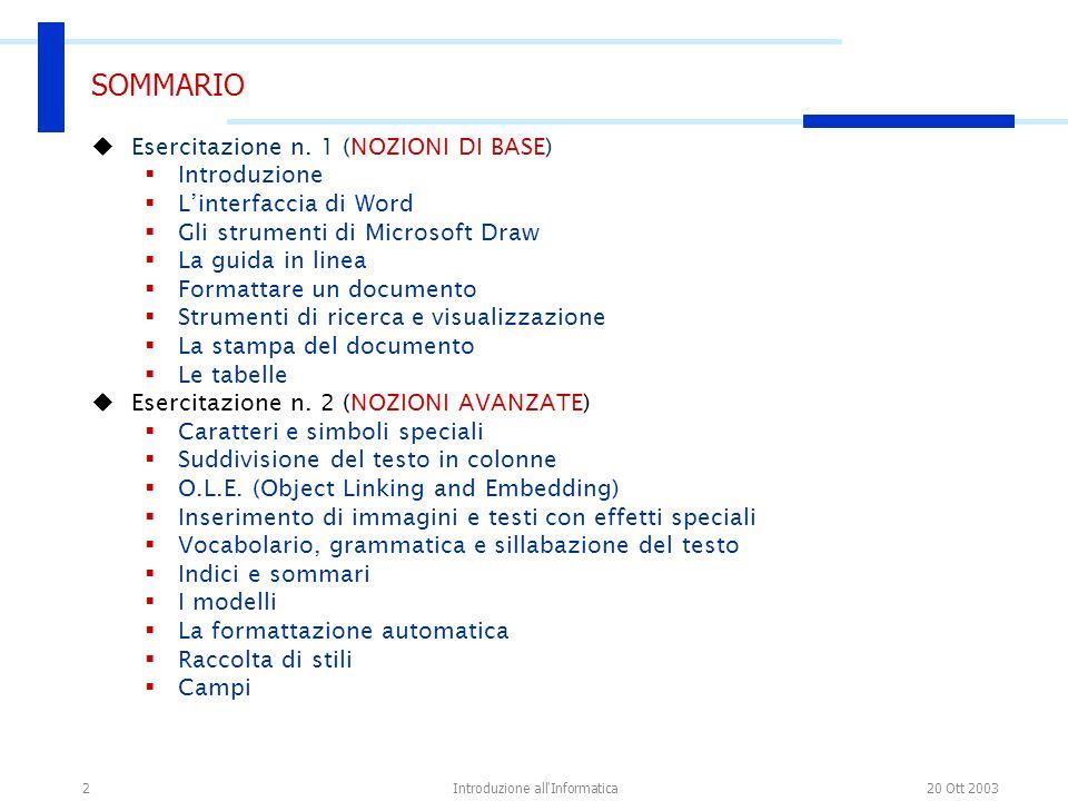 20 Ott 2003Introduzione all'Informatica2 SOMMARIO Esercitazione n. 1 (NOZIONI DI BASE) Introduzione Linterfaccia di Word Gli strumenti di Microsoft Dr