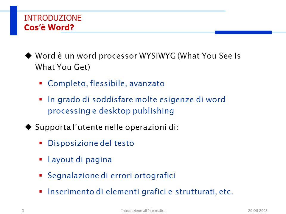 20 Ott 2003Introduzione all Informatica14 LINTERFACCIA DI WORD I menu di scelta rapida Si attivano usando il tasto destro del mouse per svolgere operazioni su testo, tabelle, immagini, indici, etc.