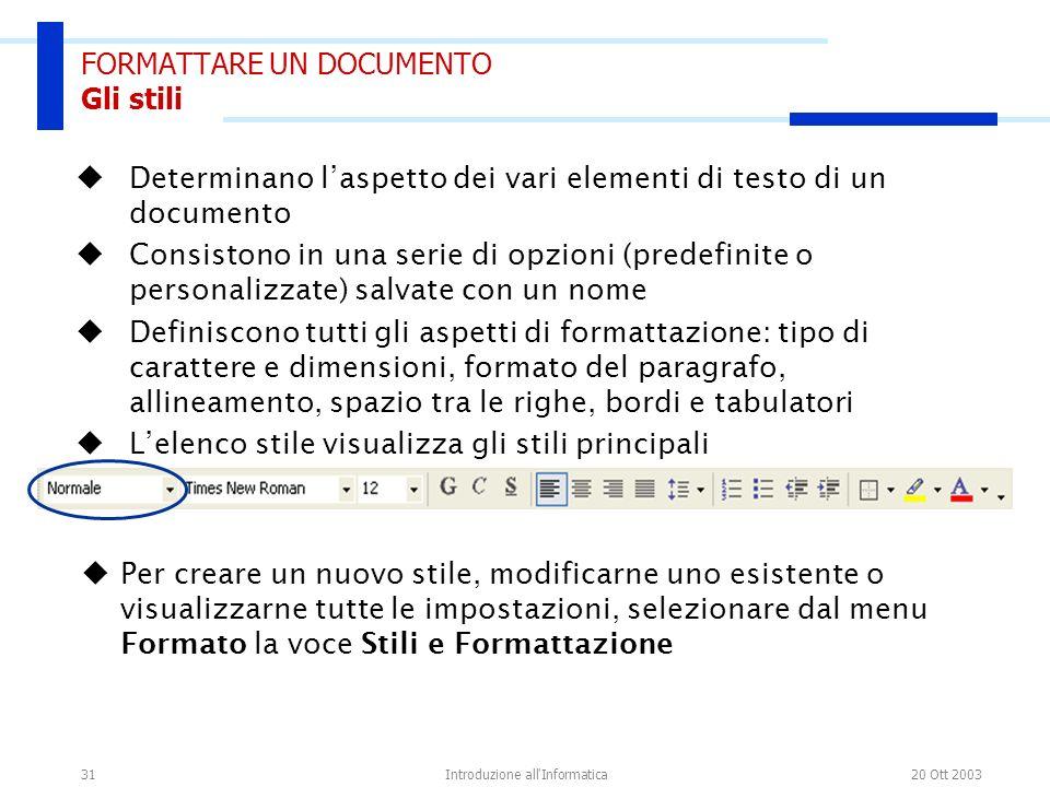 20 Ott 2003Introduzione all'Informatica31 FORMATTARE UN DOCUMENTO Gli stili Determinano laspetto dei vari elementi di testo di un documento Consistono