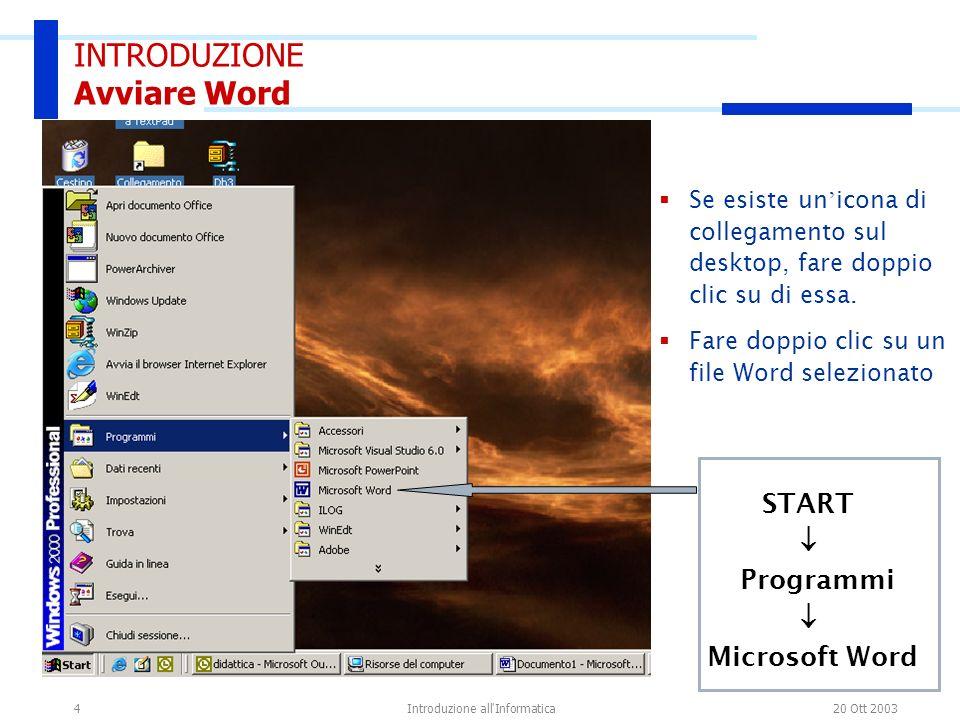 20 Ott 2003Introduzione all'Informatica4 START Programmi Microsoft Word Se esiste un icona di collegamento sul desktop, fare doppio clic su di essa. F