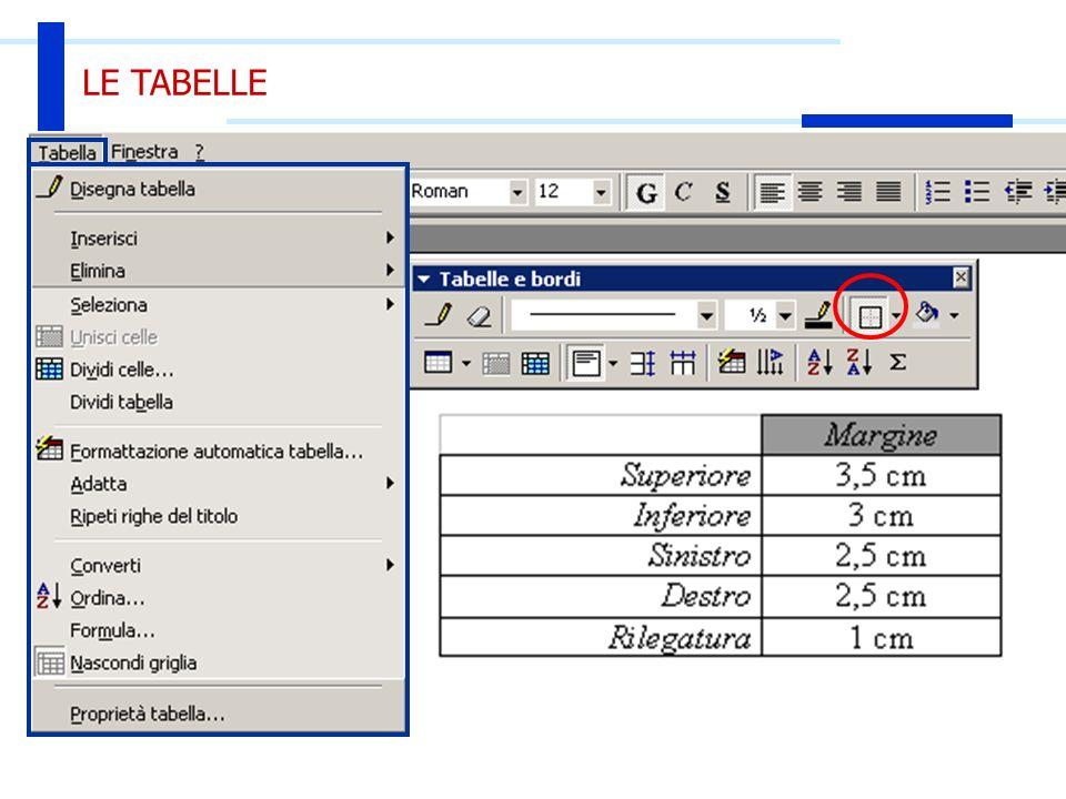 20 Ott 2003Introduzione all'Informatica46 LE TABELLE