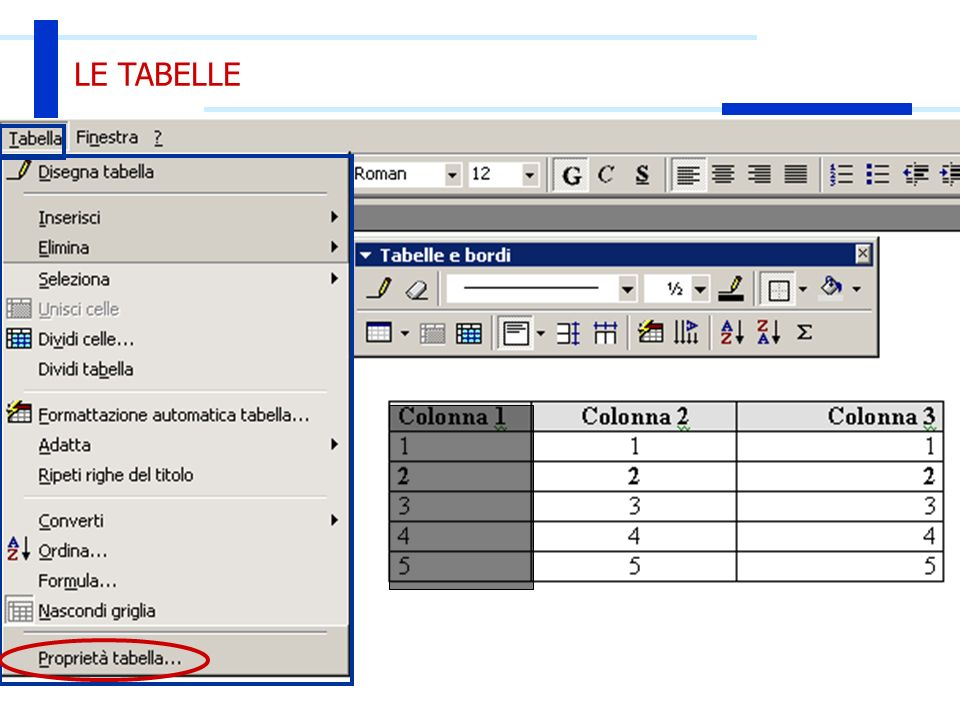 20 Ott 2003Introduzione all'Informatica47 LE TABELLE