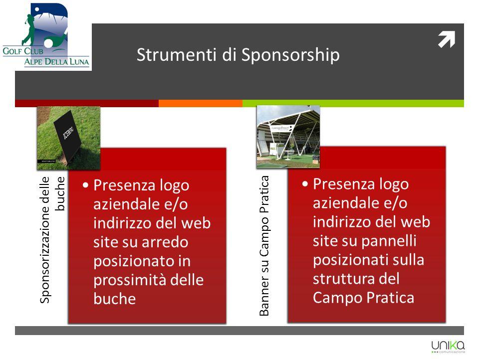 Banner su Campo Pratica Presenza logo aziendale e/o indirizzo del web site su pannelli posizionati sulla struttura del Campo Pratica Sponsorizzazione